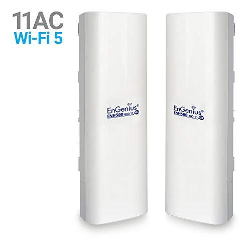 EnGenius EnJet Outdoor 5GHz AC Wave 2 WiFi 5 Plug-n-Go CPE/Client Bridge, Long-Range, PTP/PTMP, IP55, 27dBm, with 16 dBi High-Gain Antenna [2-Pack] (ENH500v3 KIT)