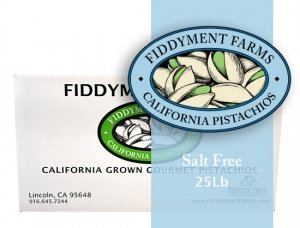 Fiddyment Farms 25 Lbs Salt Free Pistachio Kernels by Fiddyment Farms Gourmet Pistachios