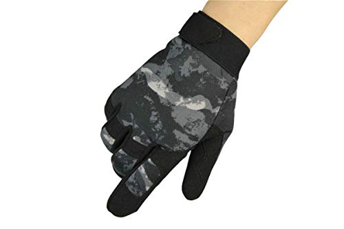 Leather Aerobic Boxing Gloves - Outdoor Riding Gloves Climbing Anti-Skid Protective Gloves Bicycle Work Gloves Gray Camouflage L