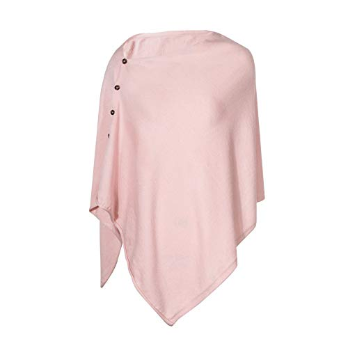 (PULI Women's Versatile Knitted Scarf with Buttons Light Weight Spring Summer Autumn Shawl Poncho Cape Cardigan, Light Pink)