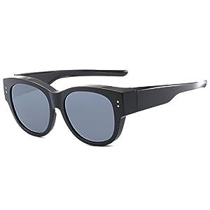 CAXMAN Oversized Lens Cover Sunglasses Mirrored Polarized Lens for Prescription Glasses, Black Frame Black Lens, Size 56 mm