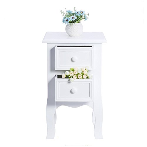 Small White 2 Drawers Bedside Table Bedside Storage Unit Cabinet Shabby Chic for your storage needs (Wicker Storage 6 Drawer Unit)