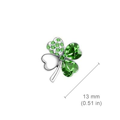 18K White Gold Plated, Emerald Green Love Hearts Four Leaf Clover Crystal Elements, Fashion Pendant Necklace and Stud Earrings Set by UPCO Jewellery (Image #3)