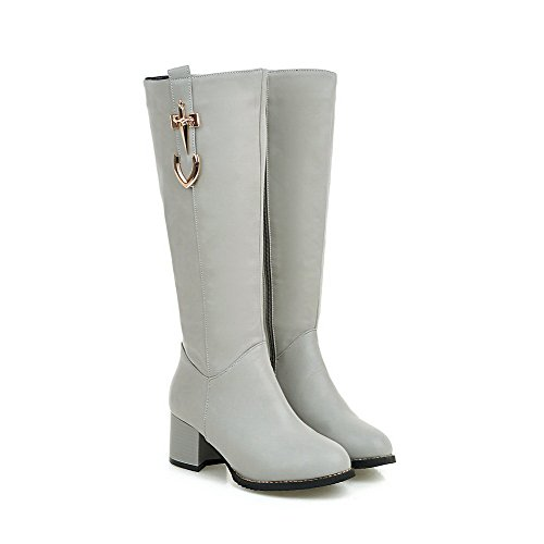 Heels Top Boots Closed Round Mid Kitten Women's Gray AgooLar Toe Zipper wB6x4qOXf