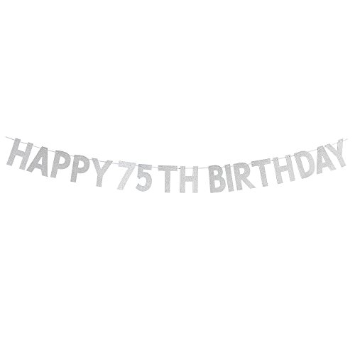 WeBenison Happy 75th Birthday Banner - Cheers To 75 Years Birthday Anniversary Party Supplies, Ideas and Decorations - Silver