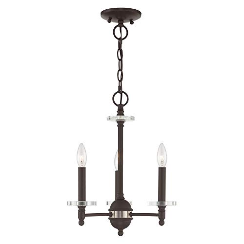 Livex Lighting 42703-07 Bancroft - Three Light Mini Chandelier, Bronze Finish with Clear Bobeche Crystal ()