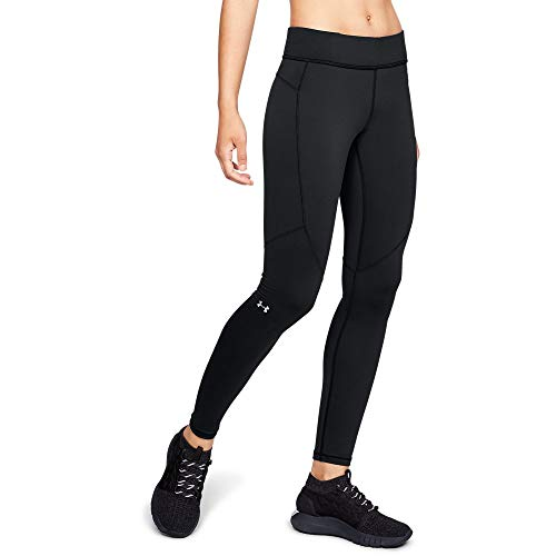 (Under Armour Women's Coldgear Armour Legging, Black (001)/Metallic Silver, Large )