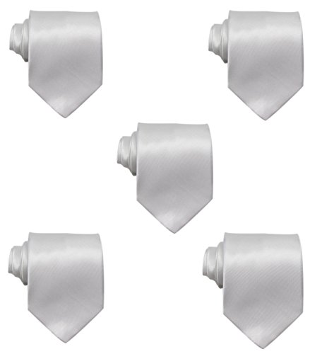 Mens Solid Satin 3.9 Inch Wide Formal Necktie Pack 5 For Wedding By JAIFEI (White)