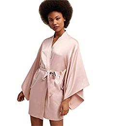 e59d42facf Kelaixiang Womens Satin Robes Bridal Wedding Party Loungewear Bride  Nightgown Long Bathrobe Pajamas Sleepwear with Belt at Amazon Women s  Clothing store