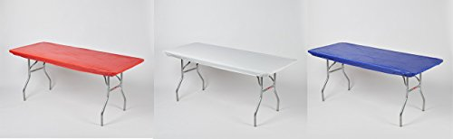 3 pack Rectangular Fitted Plastic Table Covers, 6' x 30. Red, White and Blue