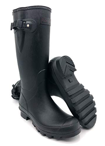- Rongee Women's Rubber Rain Boots Black with Adjustable Gusset and Oxford Cloth Bag Packed (9 B(M) US)