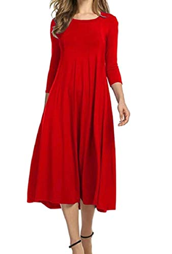 Women Party Crewneck Casual Sleeve Color Dress Red Solid QianQian Maxi AU Half Flared s 6aw5w4qT