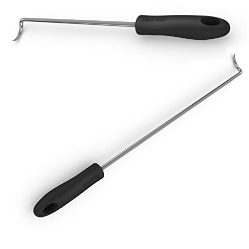 Cave Tools Pigtail Food Flipper & Turner Hooks - Large + Small Barbecue & Cooking Turners for Turning Bacon Steak Meat Vegetables Sausage Fish and More - Replaces Grill Spatula ()