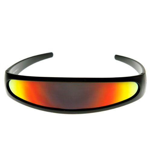 zeroUV - Futuristic Narrow Cyclops Color Mirrored Lens Visor Sunglasses (Black - 90's Sunglasses