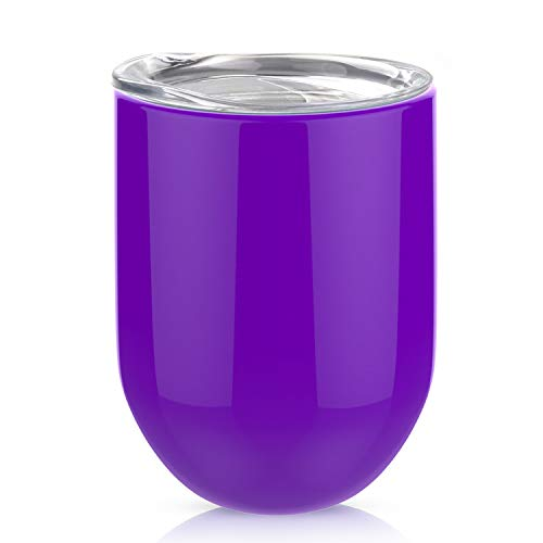 12oz Stemless Steel Wine Glass, AOND Double Insulated Wine Tumbler with Lid Travel Tumbler Cup for Home, Office, Travel, Camping, Great for Wine, Champagne, Cocktails, Coffee, Drinks - Purple -