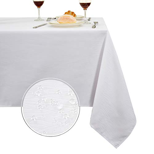 (Obstal Rectangle Table Cloth, Oil-Proof Spill-Proof and Water Resistance Microfiber Tablecloth, Decorative Fabric Curve Table Cover for Outdoor and Indoor Use (White, 60 x 120 Inch) )