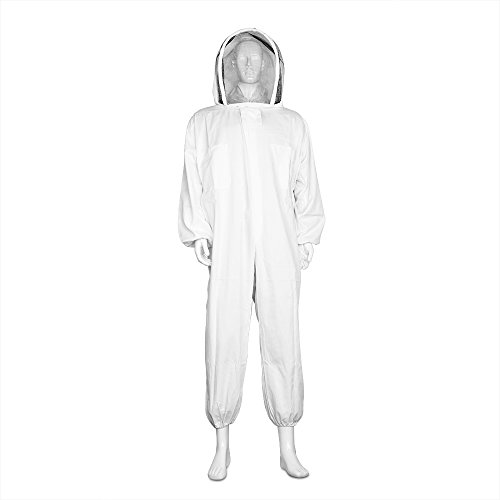 White Beekeeper Costume (Flexzion Beekeeper Suit Full Body - Beekeeping Suits Bee Keeping Coveralls Supplies Outfit Equipment with Protective Self Supporting Veil Hood for Bee Keepers XL Large White)