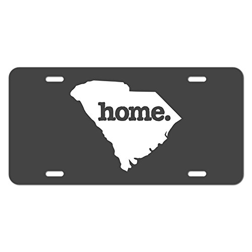 South Carolina SC Home State Novelty Metal Vanity License Tag Plate - Solid Dark Grey - Metal South Grey
