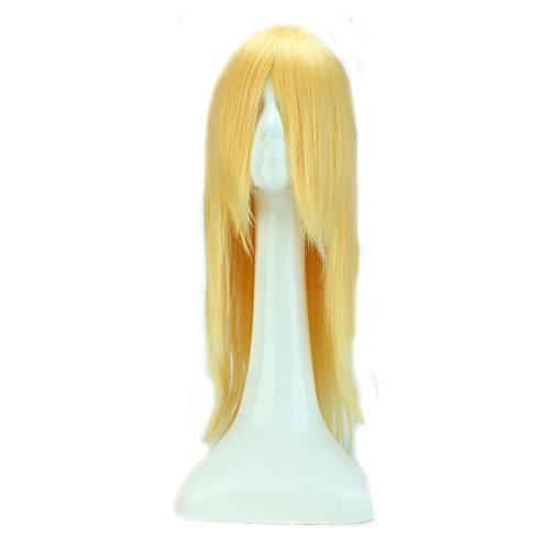24 Inch Long Straight Anime Cosplay Wigs with Bangs Japanese Heat Resistant Synthetic Hair for Women Girls Halloween Costume Free Wig Cap 10 Colors(Golden - 24 Straight Inch Wig