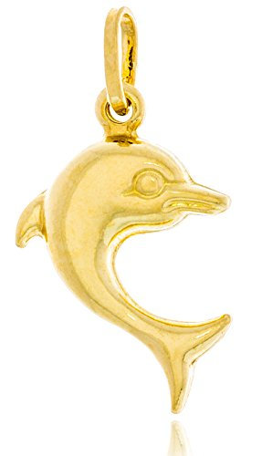 Solid Gold Dolphin Charm Hollow Pendant Made in Italy of 14K Yellow Gold 22.9mm Tall by 15mm Wide | 1.3g ()
