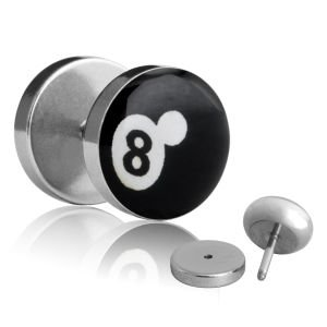 1x Fake Plug 8-Ball Billardkugel - Ø 10mm Bild Ohrstecker mit Motiv zum...