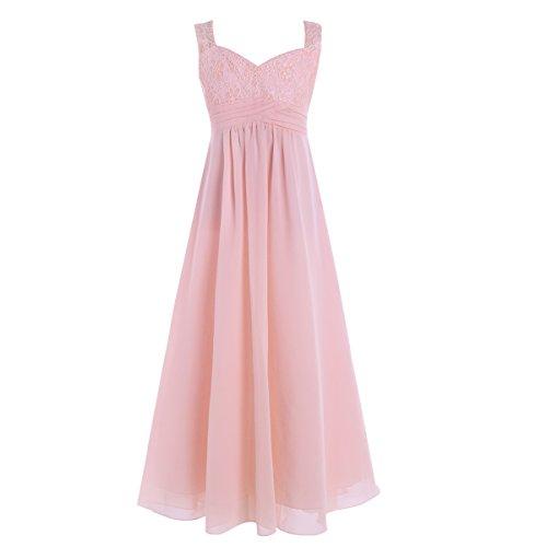 ranrann Flower Girls Dress Princess Chiffon Floral Lace Maxi Skirt Wedding Bridesmaid Formal Event Pearl Pink 8