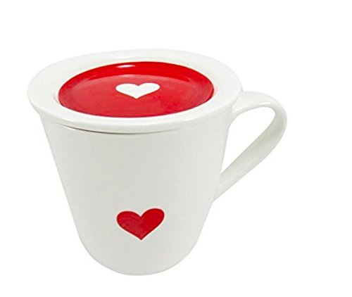 Daiso Japan 2 Piece Set (Cup and Lid) Mother's Day Heart Mug Cup with Lid/Tea Coffee Porcelain Cup with Saucer (10 oz Red/White)
