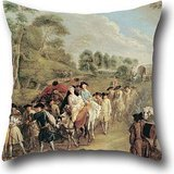 (20 X 20 Inches / 50 By 50 Cm Oil Painting Watteau, Jean-Antoine - Soldiers On The March Pillowcase ,2 Sides Ornament And Gift To Outdoor,kids,relatives,car Seat,gf,deck Chair)