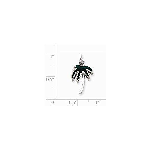 Sterling Silver Green Enameled Palm Tree Charm (0.8IN long x 0.5IN wide) ()