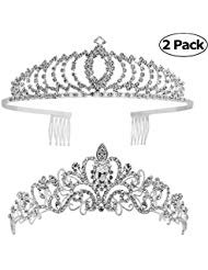 Tiaras and Crowns,Vinsco 2 Pack Crystal Tiara Crown Headband Headpiece Rhinestone Hair Jewelry for Women Ladies Little Girls Bridal Bride Princess Queen Birthday Wedding Pageant Prom Party -