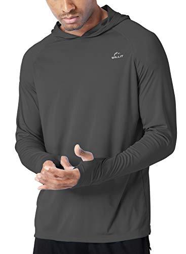 Willit Men's UPF 50+ Sun Protection Hoodie T-Shirt Long Sleeve SPF Shirt Deep Gray L (Best Hoodies For Summer)