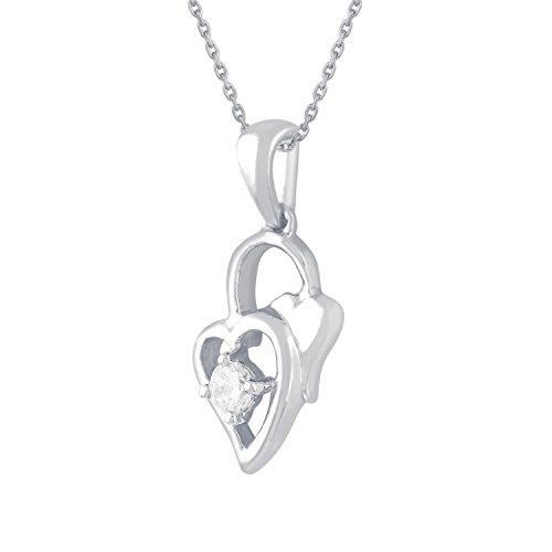 Giantti 14carats Diamant pour femme Collier Pendentif cœur (0.12CT, VS/Si-clarity, Gh-colour)