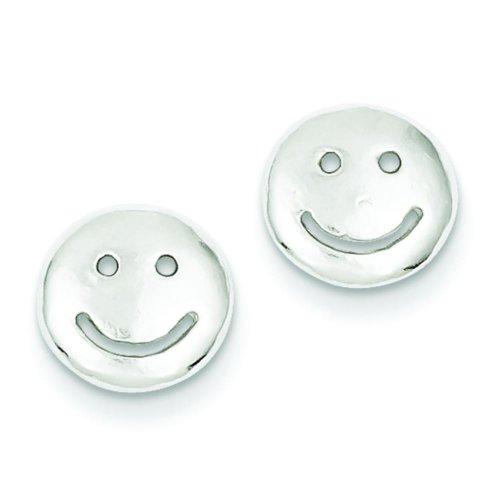 Sterling Silver Smiley Face Stud Earrings - Smiley Solid Face Earrings