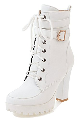 Buckled Platform Ankle Boots - Aisun Women's Buckled Strap Lace Up Inside Zip Up Round Toe Short Martin Boots Platform High Chunky Heel Ankle Booties (White, 8 B(M) US)