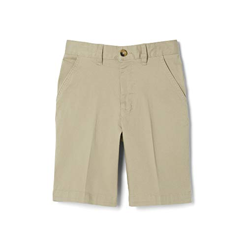 - French Toast Boys'  Flat Front Stretch Short, khaki, 12,Big Boys