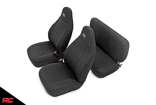 Rough Country 91000 Neoprene Seat Covers Black Compatible w/ 1997-2002 Jeep Wrangler TJ (Set) Custom Fit Water Resistant