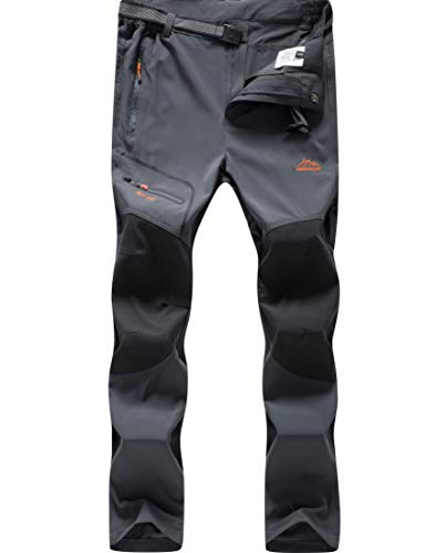 DAFENGEA Men Outdoor Lightweight Breathable Quick Dry Hiking Mountain Pants,CFK1712M-Grey-XL