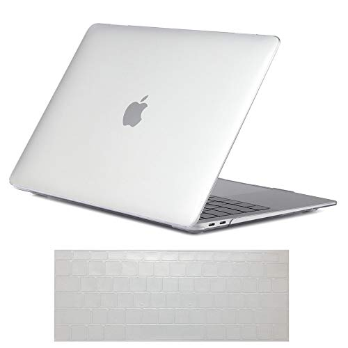 Se7enline Clear MacBook Air 13 inch Case 2018/2019 New Crystal Plastic Hard Shell Carrying Case Cover for MacBook Air 13-Inch with Retina Touch ID Model A1932 with Keyboard Cover, Crystal Transparent