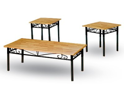 3 Piece Black Metal Living Room Occassional Table Set