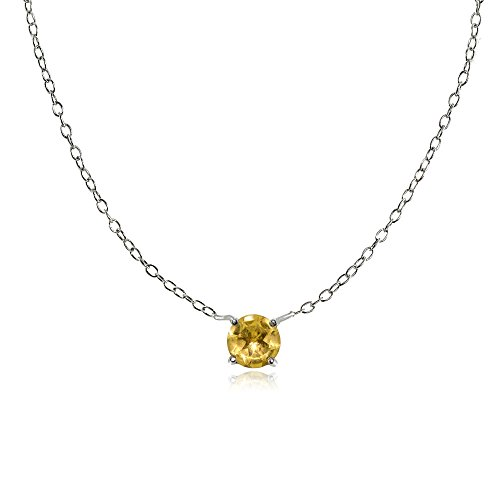 Citrine Round Charm (Sterling Silver Small Dainty Round Citrine Choker Necklace)