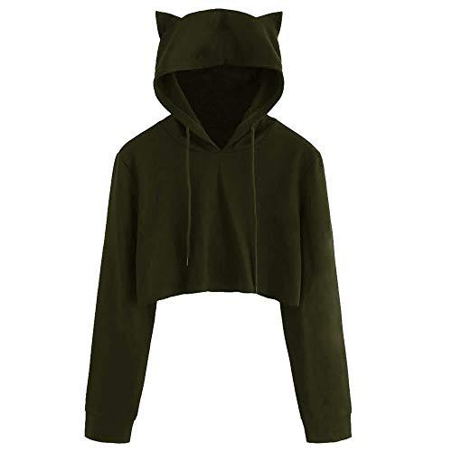 NUWFOR Womens Cat Ear Long Sleeve Hoodie Sweatshirt Hooded Pullover Tops Blouse(Army Green,M)