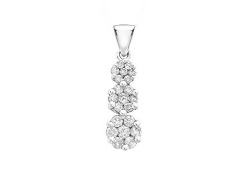 Or blanc 9carats Diamant 1.00carat-Triple 165Cluster Goutte Pendentif