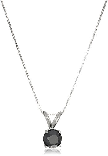 2 CT Black Diamond Solitaire Pendant 14K White Gold
