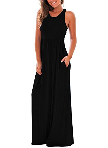 Diukia Women's Round Neck Sleeveless Solid Racerback Maxi Dress with Pocket