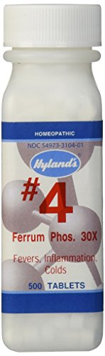 Hyland's Cell Salts #4 Ferrum Phosphoricum 30X Tablets, Natural Relief of Fevers, Minor Swelling, Colds,  500 Count