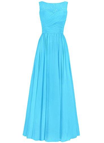 Ballkleider Lang Abendkleider Linie A Brautjungfernkleid Chiffon Blau Hochzeitskleider Festkleider wq7a75d