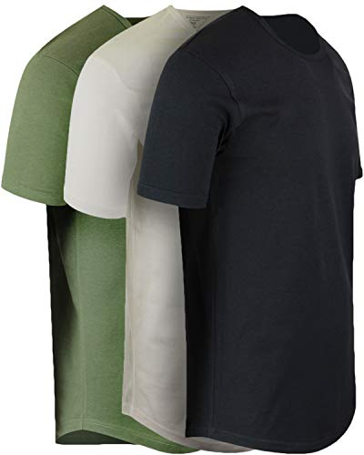 ShirtBANC Mens Hipster Hip Hop Long Drop Tail T Shirts (Black | Military Green | Vintage White, M)