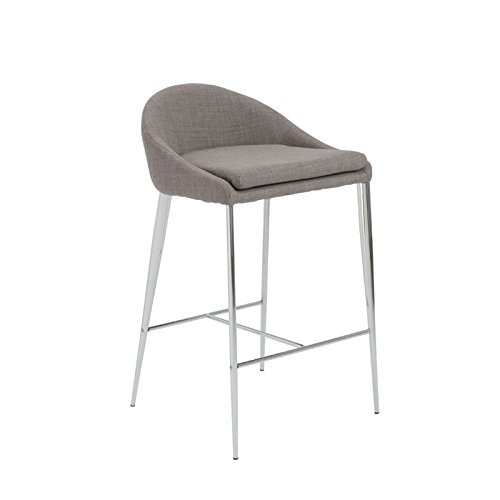 Euro Style Brielle Low Profile Counter Height Stool with Fabric Seat and Chromed Base, Set of 2, (Euro Style Set Bar Stool)