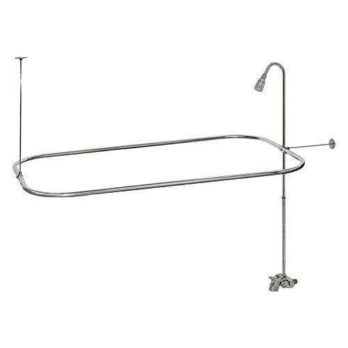 EZ-FLO 11123 Bathcock Type Portable Aluminum Add On Shower Unit with Shower Rod Frame, Chrome-Plated