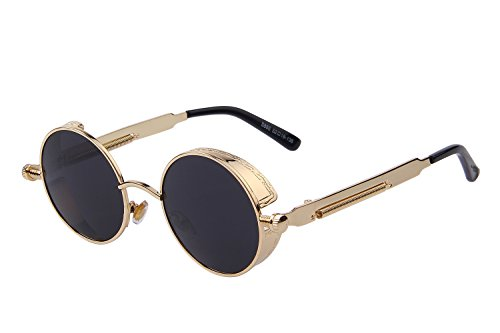 MERRY'S Gothic Steampunk Sunglasses for Women Men Round Lens Metal Frame S567(Gold&Black, 46)